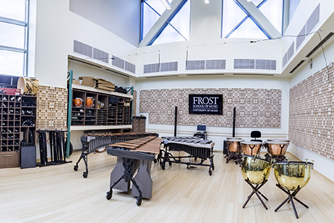 Kline Percussion Studio filled with various instruments at the University of Miami